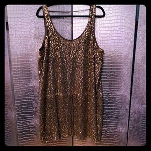 Chiffon Olive Green dress with Gold Sequins Large